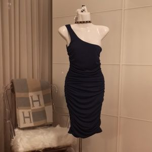 One strap blue dress Small ruched